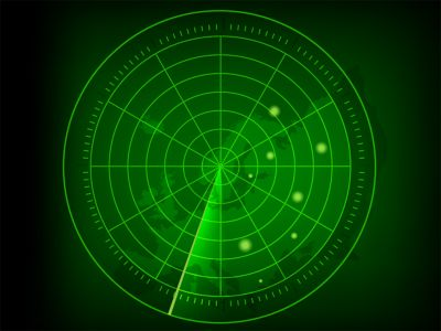 Illustration of circular green radar screen with military targets and world map background shutterstock ID 1042667719