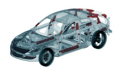 Grey semi-transparent car body with red highlighted areas indicating potential for lightweighting