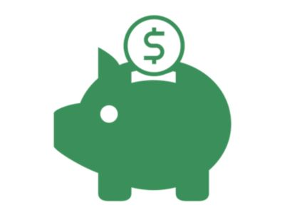 Illustrated green icon of a piggie bank