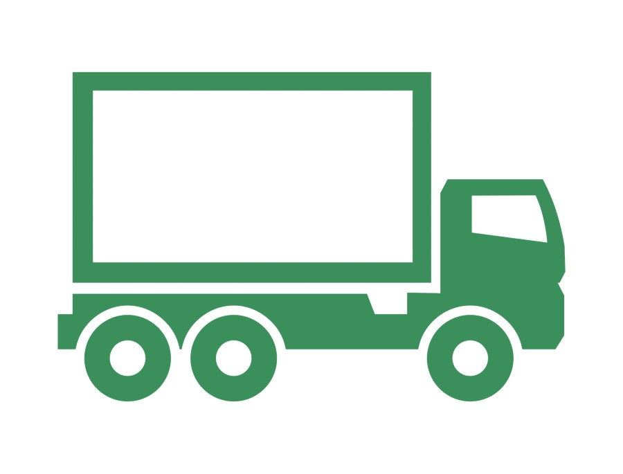 Illustrated green icon of a logistics unit with the words improved logistics