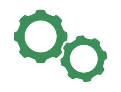 Illustrated green icon of a paste management unit with the words improved paste management