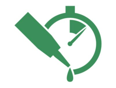 Illustrated green icon of a printing unit with the words improved printing