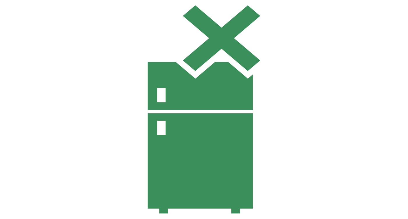 Illustrated green icon of a refrigeration unit with the words No Refrigeration