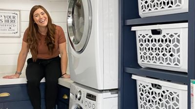 woman in remodeled laundry room