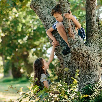 Chłopiec wspinający się na drzewo