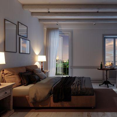 Innenansicht eines Hauses bei Nacht