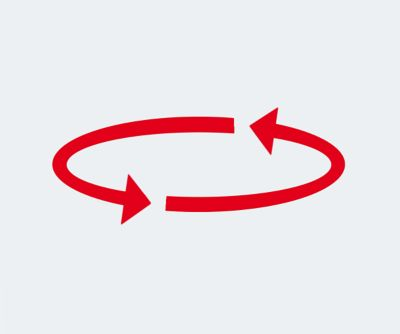 Red icon indicating a continuous circular process