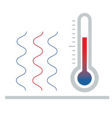 Icon of a colorful thermometer above a grey printed circuit board emitting steam
