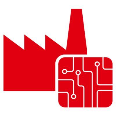 赤い回路基板と工業建築物の図