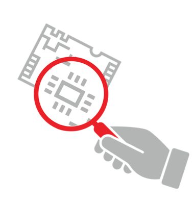 Icon of grey hand with a red magnifying glass inspecting printed circuit board