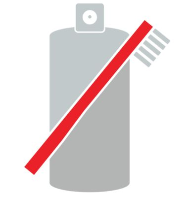 Icon for cleaning with a red toothbrush in front of grey spray bottle