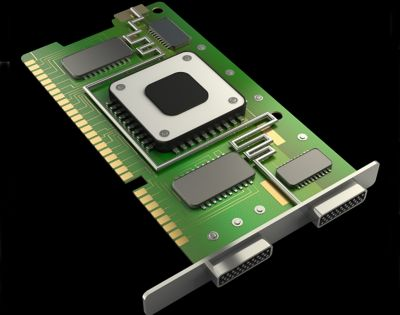 Illustration of a Graphic Card or Graphic Processing Unit (GPU) on a black background. 3-D rendered. Shutterstock 133023986.