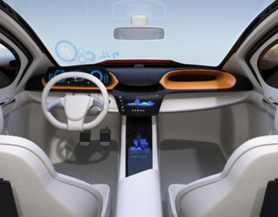 3D Illustration of a vehicle interior, focusing on the center console and heads up display