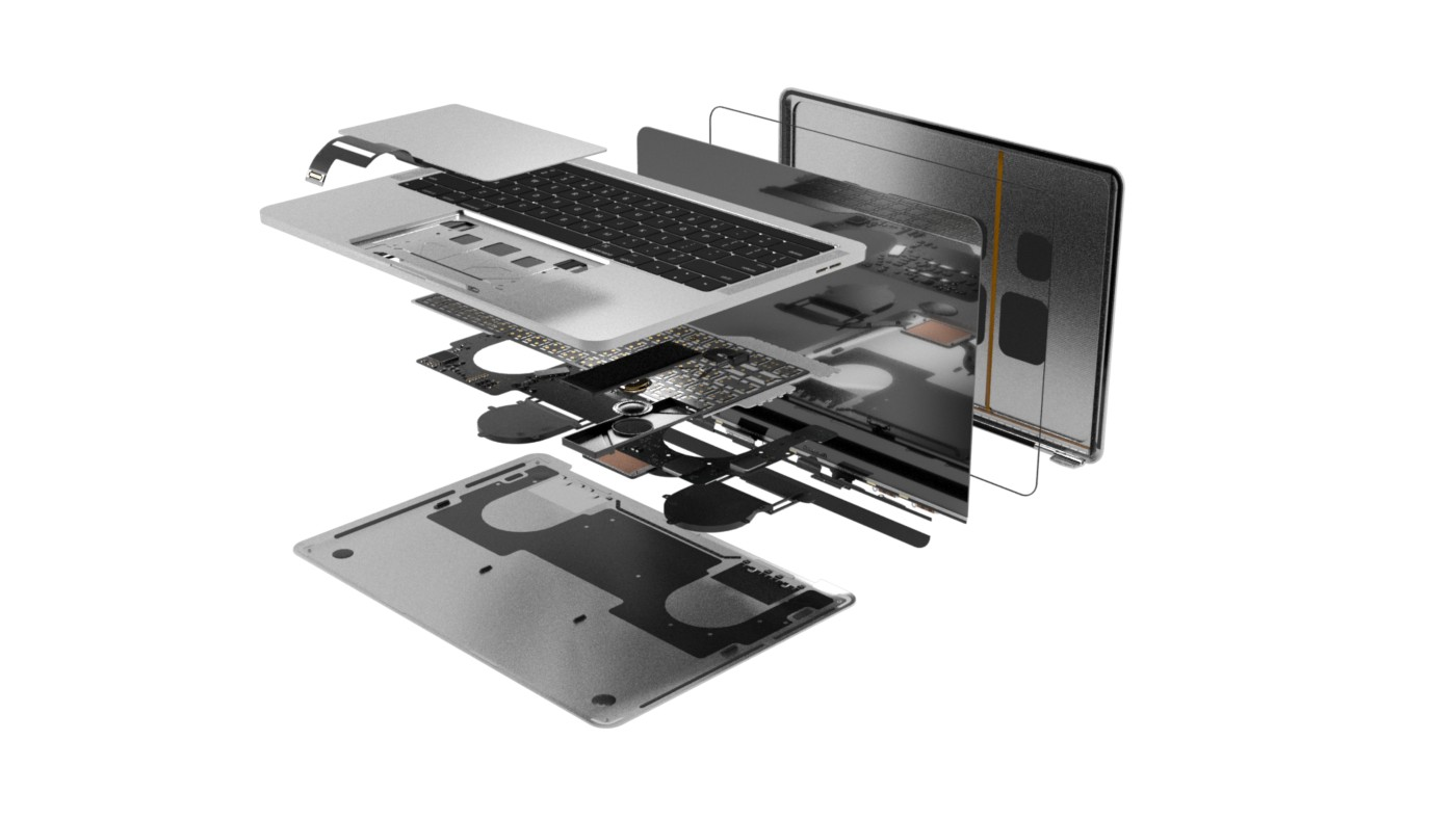 3D illustration of a laptop computer exploded to show interior components.