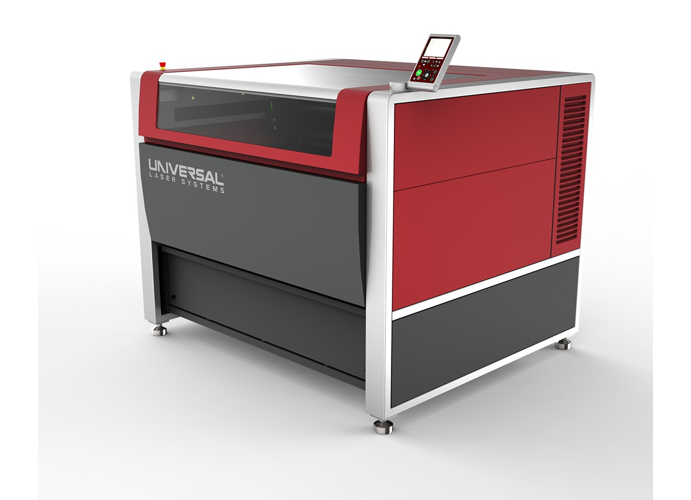Photo of red universal laser systems laser cutter used for custom cutting film
