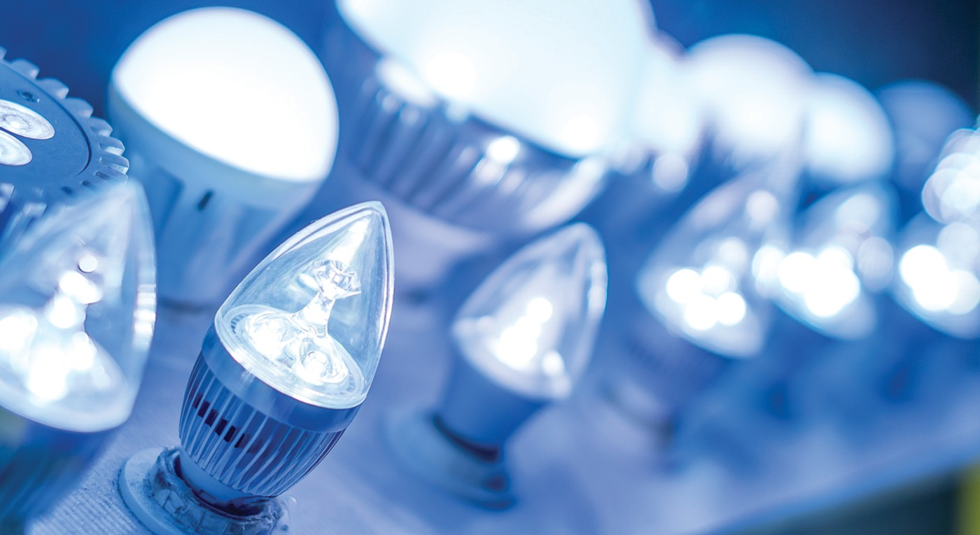 Photo of led lightbulbs in a variety of sizes in shapes lit in soft blue shutterstock ID 141950065