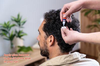 long hair getting cut, glue in hair, super glue in hair