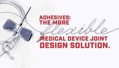 Illustration winged IV needle and tubing red lettering Adhesives: The More flexible Medical Device Joint Design Solution