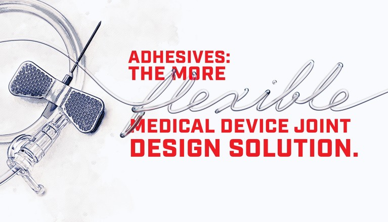 Illustration of a winged IV infusion needle and tubing with red lettering Adhesives: The More flexible Medical Device Joint Design Solution