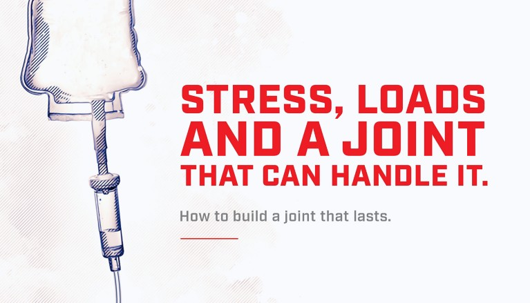 Illustration of an IV bag assembly with red lettering stress, loads and a joint that can handle it. How to build a joint that lasts.