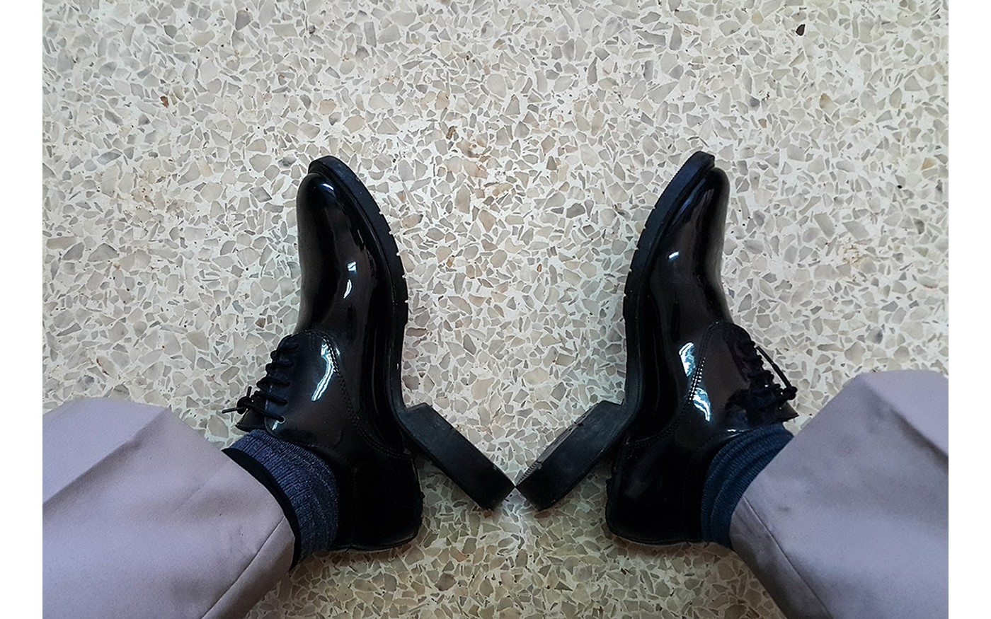broken leather shoes
