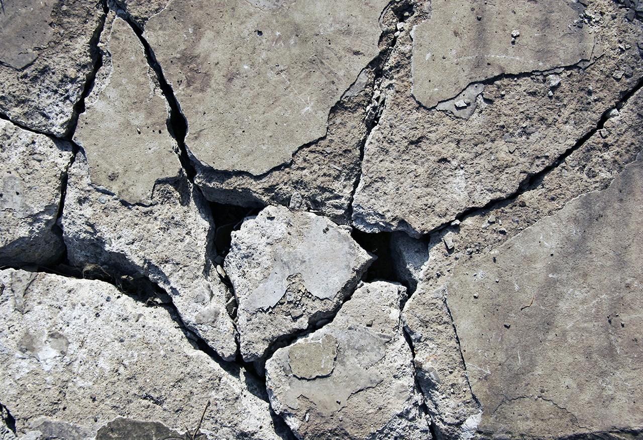 A cracked concrete surface