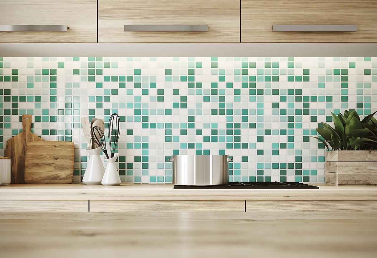 An exotic tile backsplash in a modern kitchen