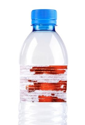 Label on plastic bottle