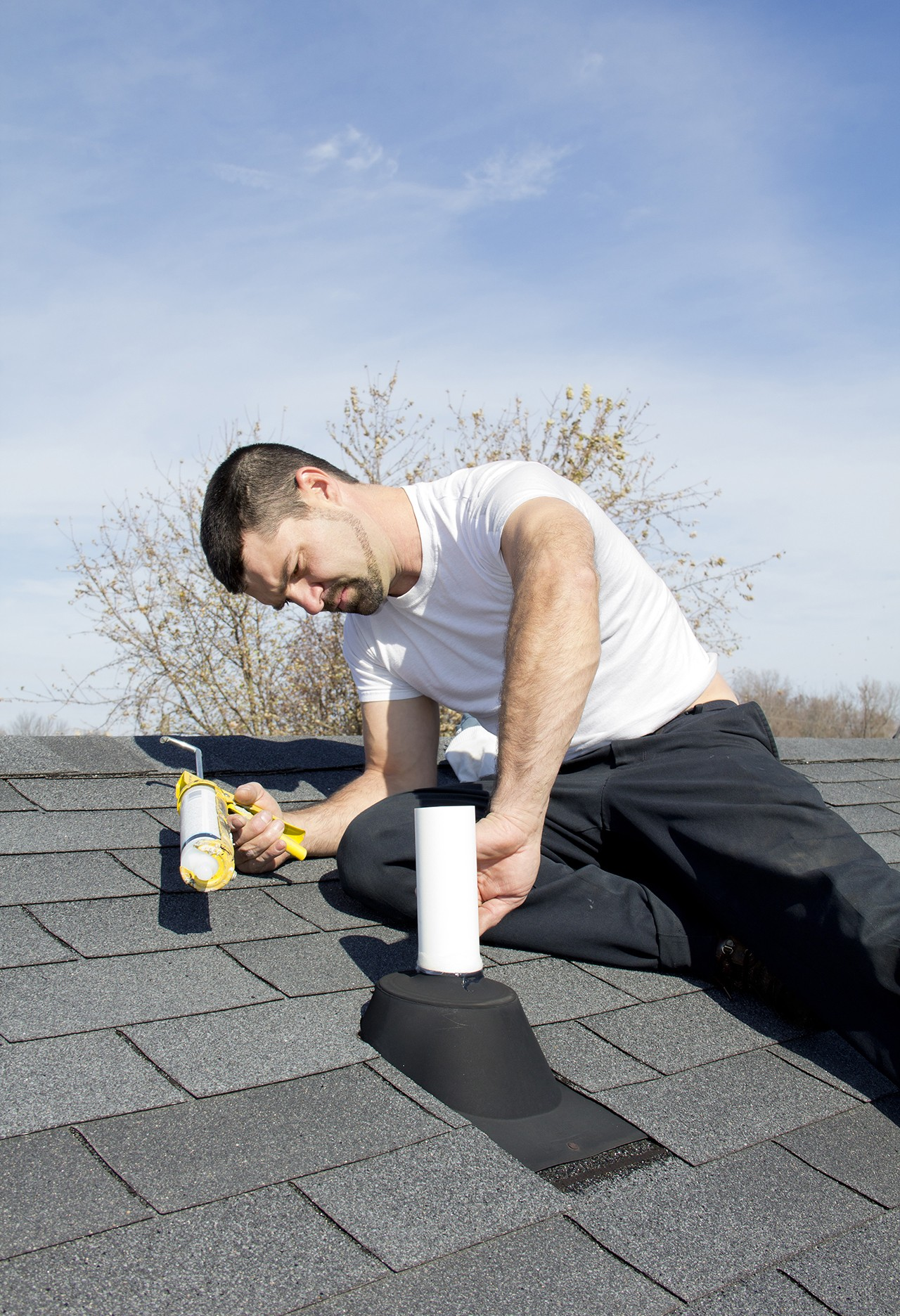 Sealant being used on roof
