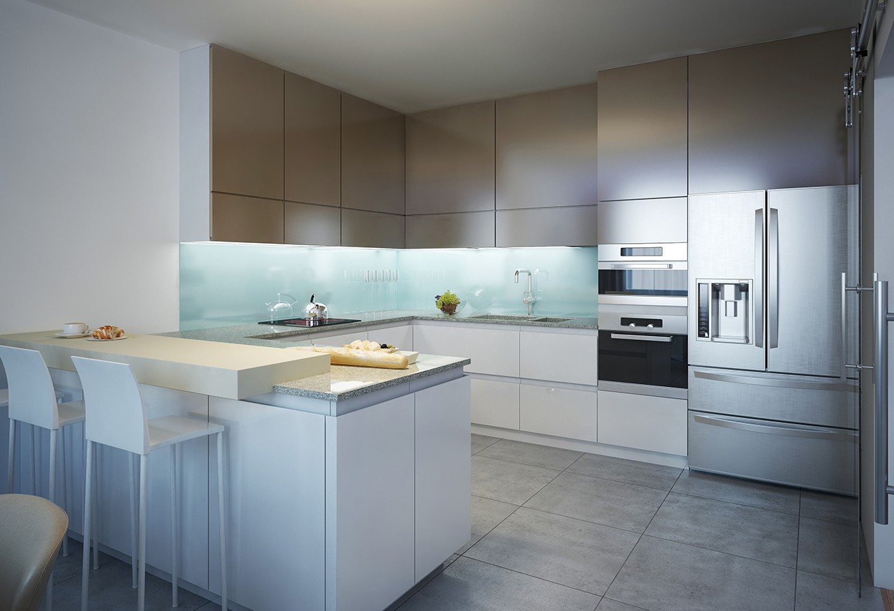 A beautiful kitchen or home with colors/features like dark greys, red brick