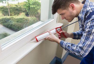 Window trim and caulking gun
