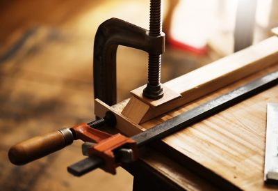 Wood with clamps