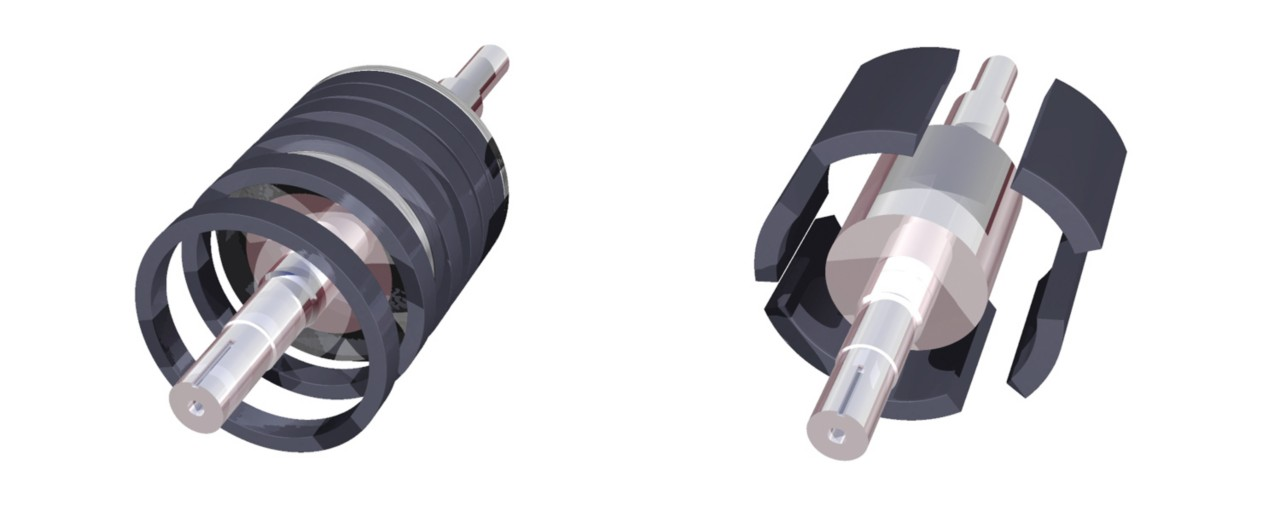 Inside view of electric motor magnets