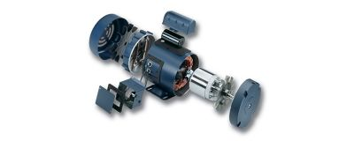 Exploded part view of electric motor