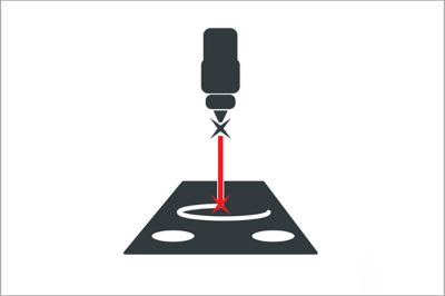 Vector icon representing laser cutting technology for custom preform manufacturing capability illustrated in grey, white and red