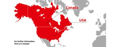 Map of North America focusing on  areas with Henkel pre-applied centers