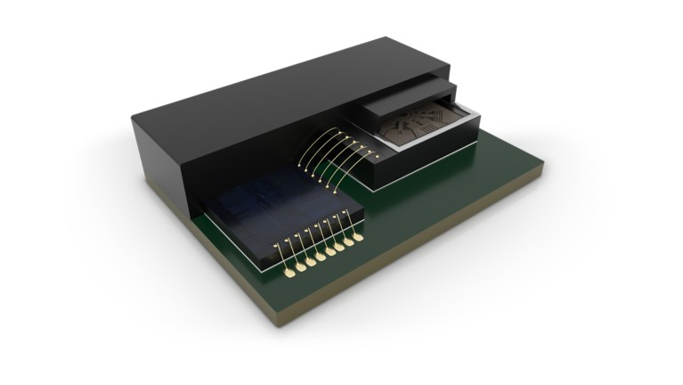 3d illustration of micro electo mechanical mems semicondor device showing die attach and lid attach adhesive packaging technology