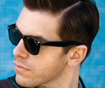 Male model with a pompadour hairstyle