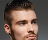 Male model with short, gelled-back hairstyle