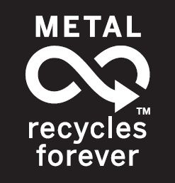 Black and white Metal Recycles Forever logo