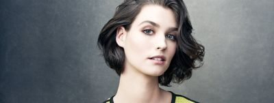 model with hair swept in a bob hairstyle