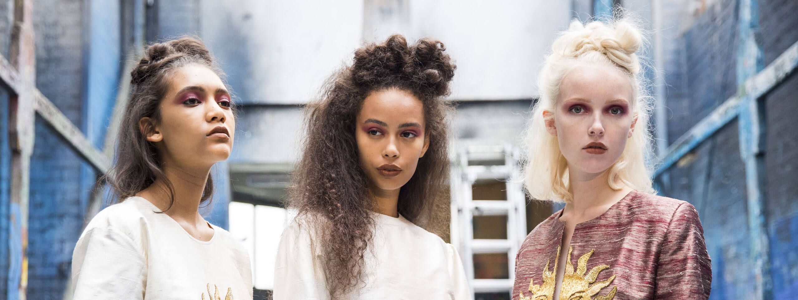Models wear hair in half-up half-down hairstyle, a hairstyle trend for women