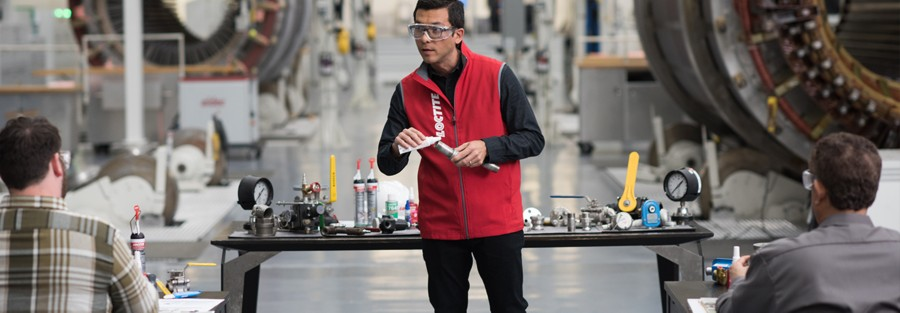 man demonstraining how to use loctite products for industrial maintenance and repair