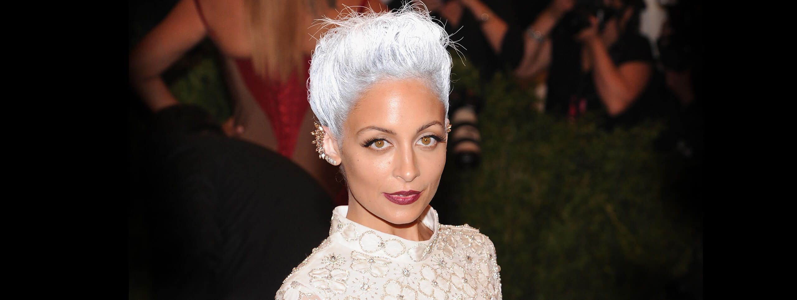 Nicole Richie with short gray hairstyle