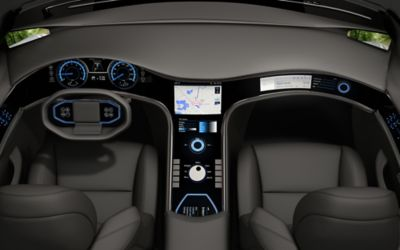 Overhead view of vehicle interior and infotainment system of the future