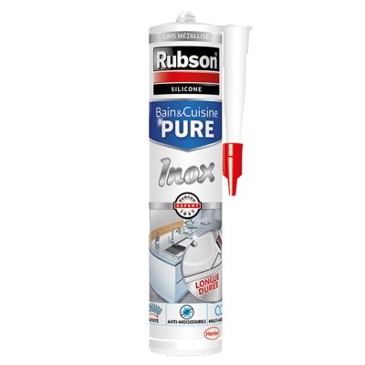 Mastic Joint Bain & Cuisine Pure Silicone Couleur Inox