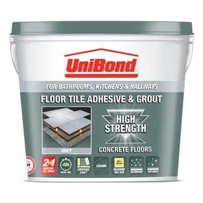 Floor tile adhesive & grout: Concrete floors