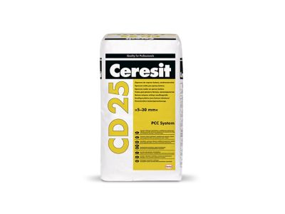 Ceresit CD 25 Дребнозърнест разтвор за поправка на бетон, от 5 до 30 mm. Циментов разтвор за тънки слоеве