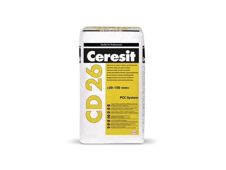 Ceresit CD 26 Едрозърнест разтвор за поправка на бетон, от 30 до 100 mm. Циментов разтвор за дебели слоеве
