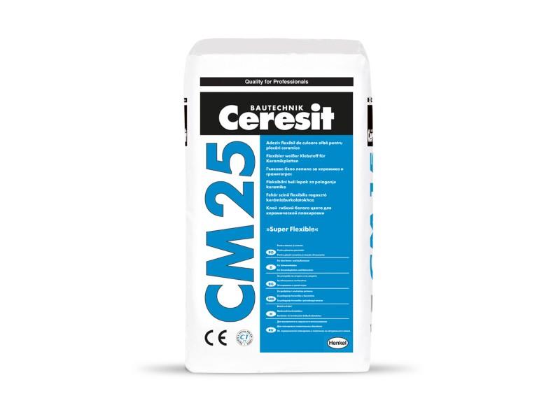 Ceresit CM 25 SUPER FLEXIBLE<br> Бяло супер гъвкаво лепило за критични основи